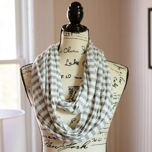 Accessories - Grey & White Striped Circle Scarf